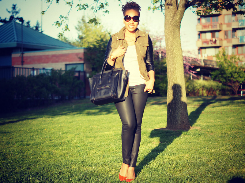 Leather Sleeve Utility Jacket + Wax Coated Jeans