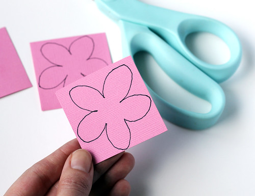 Cutting flowers out of paper or felt