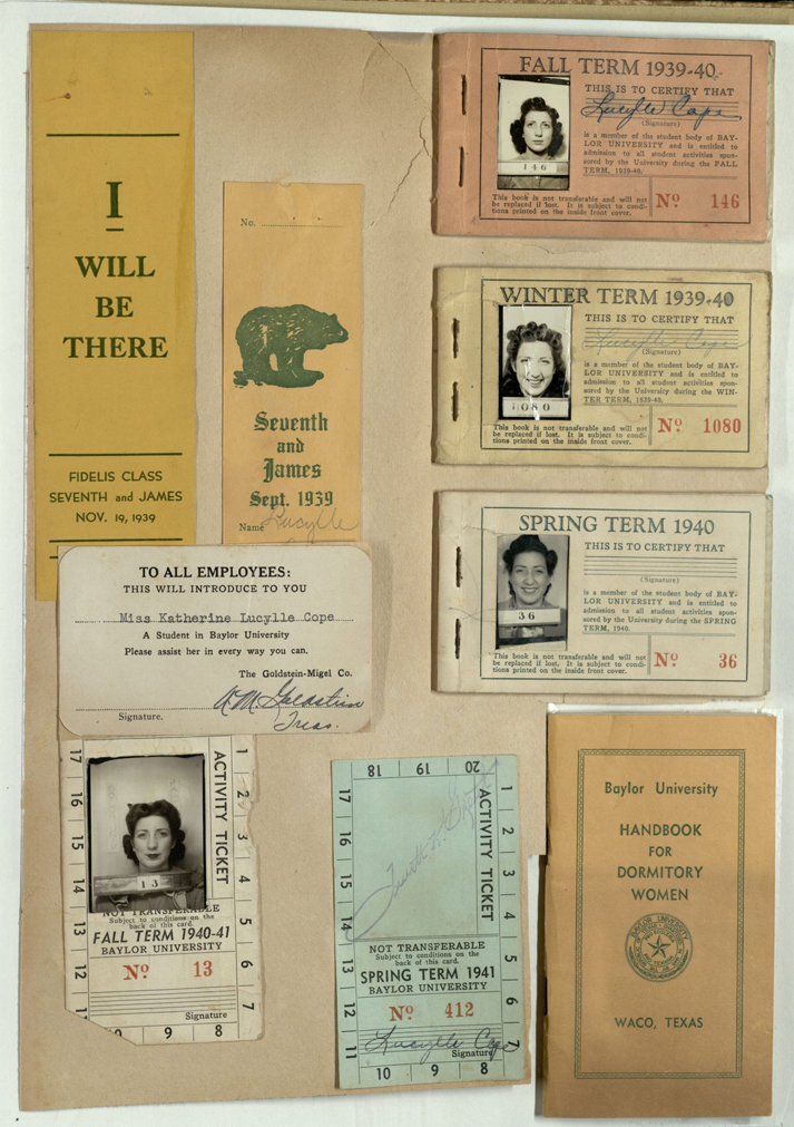 Katherine Lucylle Cope Fulmer scrapbook on Baylor University life, 1939-1941