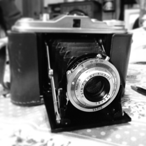 My newest vintage camera. Still has a roll of film in it!  Seems to function well other than a frozen focusing ring. My dad and sister found it for me! #agfa #isolette #pictapgo_app