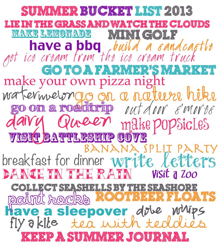 summer bucket list 2013a