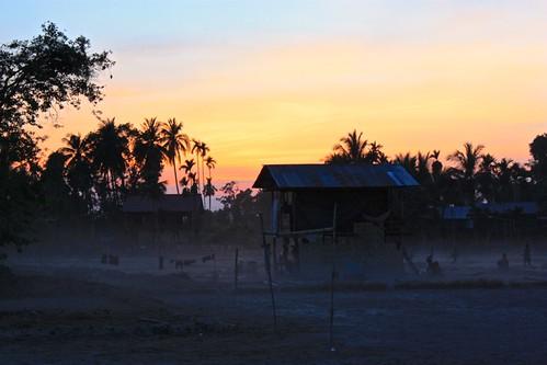 dusk over a village