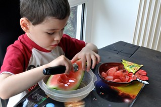 Preparing Montessori Snack Watermelon