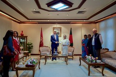 U.S. Secretary of State John Kerry shakes hands with Bangladeshi Prime Minister Sheikh Hasina Wazed at the Prime Minister's Office in Dhaka, Bangladesh, before a bilateral meeting on August 29, 2016.  [State Department Photo/ Public Domain]