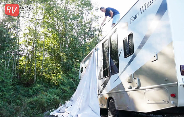 Mon, 10/10/2016 - 10:59 - Use a strap to pull your RV cover up onto the roof