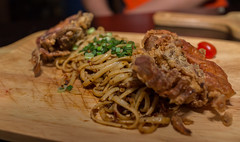 hae bee hiam pasta with soft shell crab