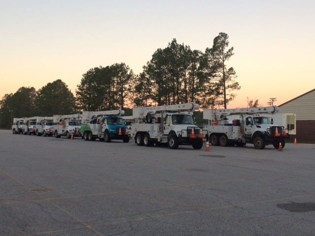 Trucks line up to leave Ellabell, GA on 10.13.16