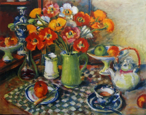 """Poppies and Checked Cloth"" by Margaret Olley"