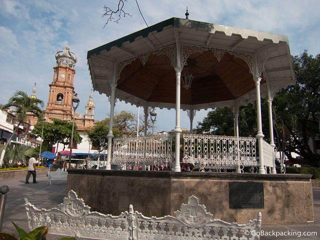 The center of Old Vallarta, with the Church of Our Lady of Guadalupe in the background