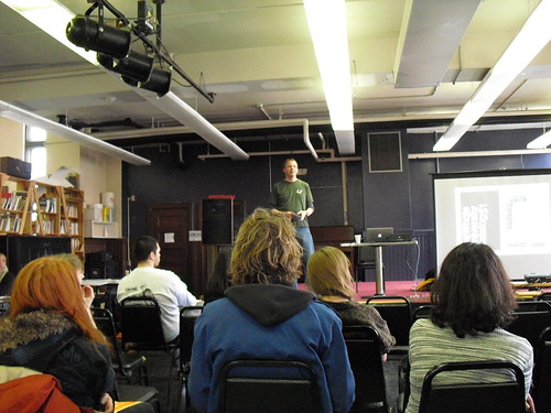Kevin Hamilton speaking about the zine making process at Midwest Zine Fest 2013