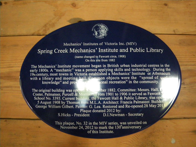 Photo of Fawcett Hall and Spring Creek Mechanics' Institute blue plaque