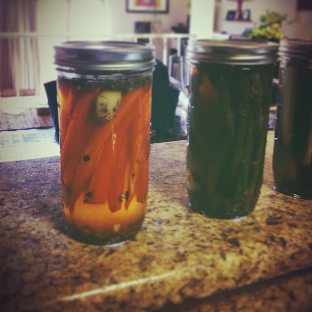 Pickles carrots, asparagus and regular old cucumbers. #homesteading #vscocam
