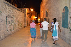 Walking the Streets of Bethlehem at night on our first day there