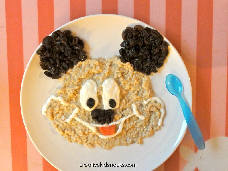 Mickey Mouse Breakfast made from oatmeal, yogurt, and raisins by CreativeKidSnacks.com