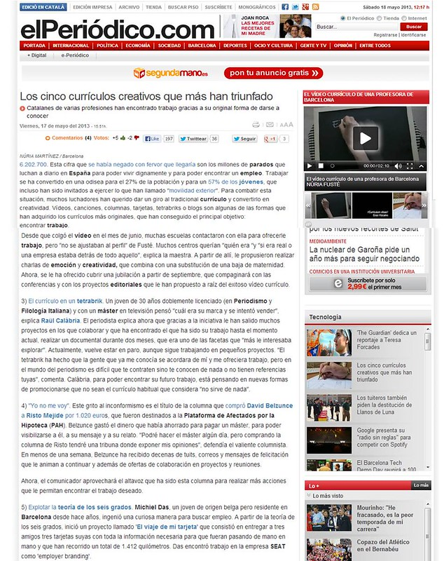 Artículo en la web - El Periódico (17.05.2013) - castellano