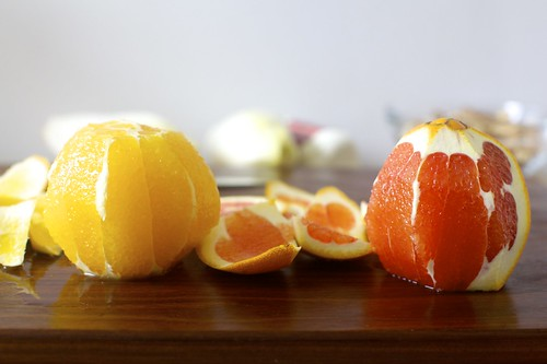 a navel and a cara cara orange