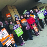 Picket line at the front of the Civic offices