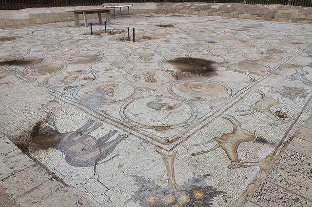 6th century AD Bird Mosaic that adorned the atrium of a large palace complex outside the city wall of Byzantine Caesarea, Caesarea Maritima, Israel