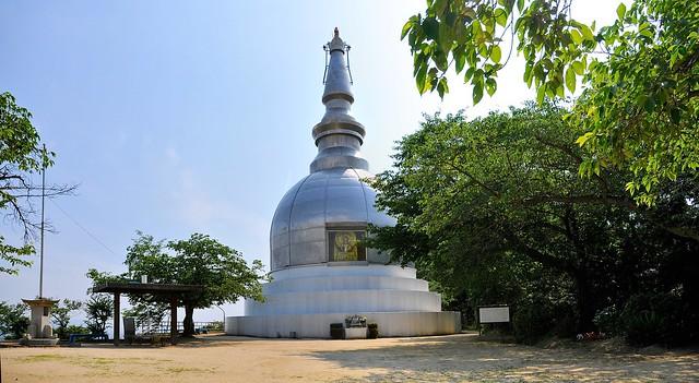 Peace stupa behind Hiroshima station