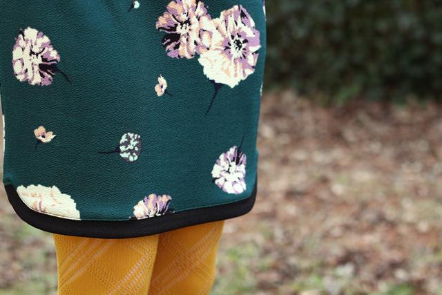 Green Floral Dress Detailing
