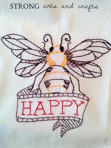 SA&C Bee Happy Hand-embroidered dish towel