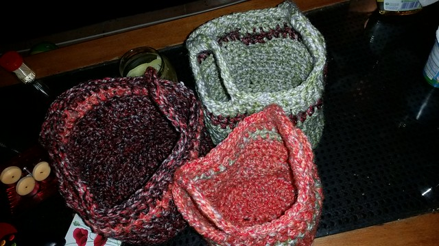 3 nesting baskets - crochet. Completed Dec. 18,2014