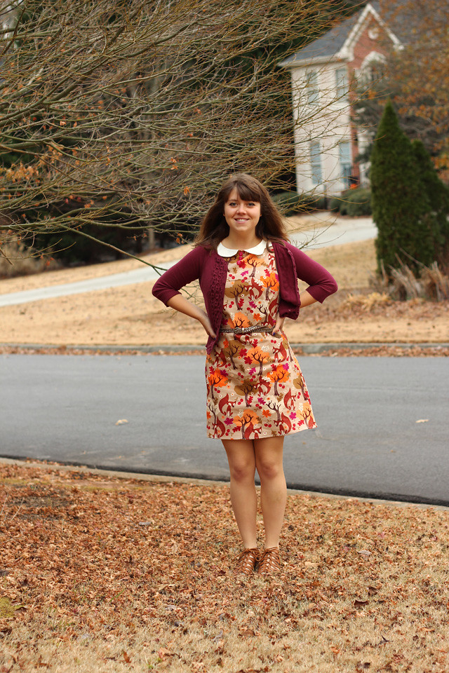 Fox and Fall Leaf Print Shift Dress with a Sparkly Belt and Burgundy Cardigan