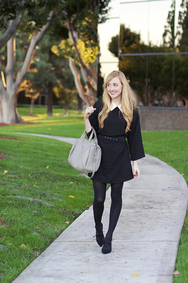 vero moda black and white collared dress