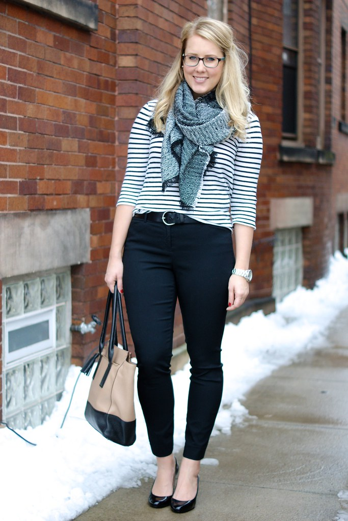 simple winter look: stripes and an oversized scarf