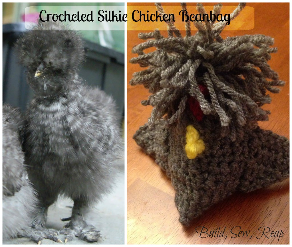 Crocheted Silkie Chicken Beanbag