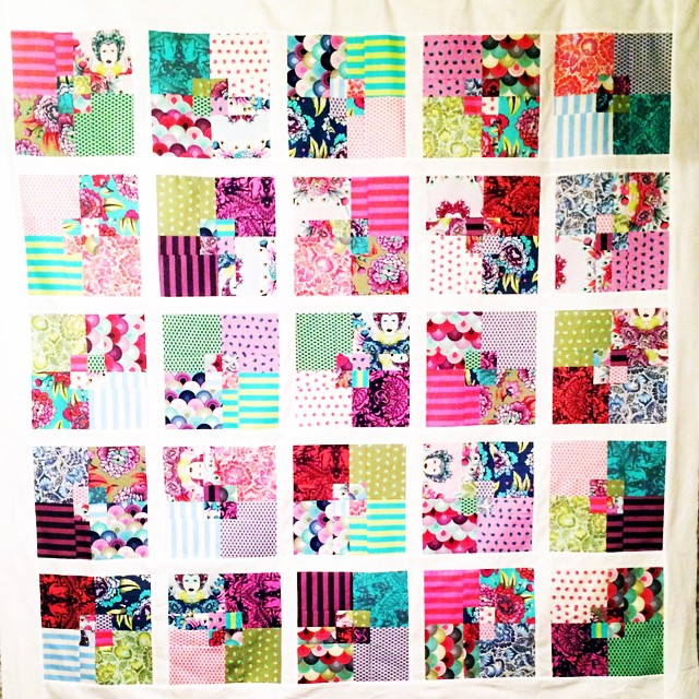 "@tulapink Elizabeth quilt top done! I made this using a 4"" design roll from @hawthornethreads #tulapink #tulapinkelizabeth"