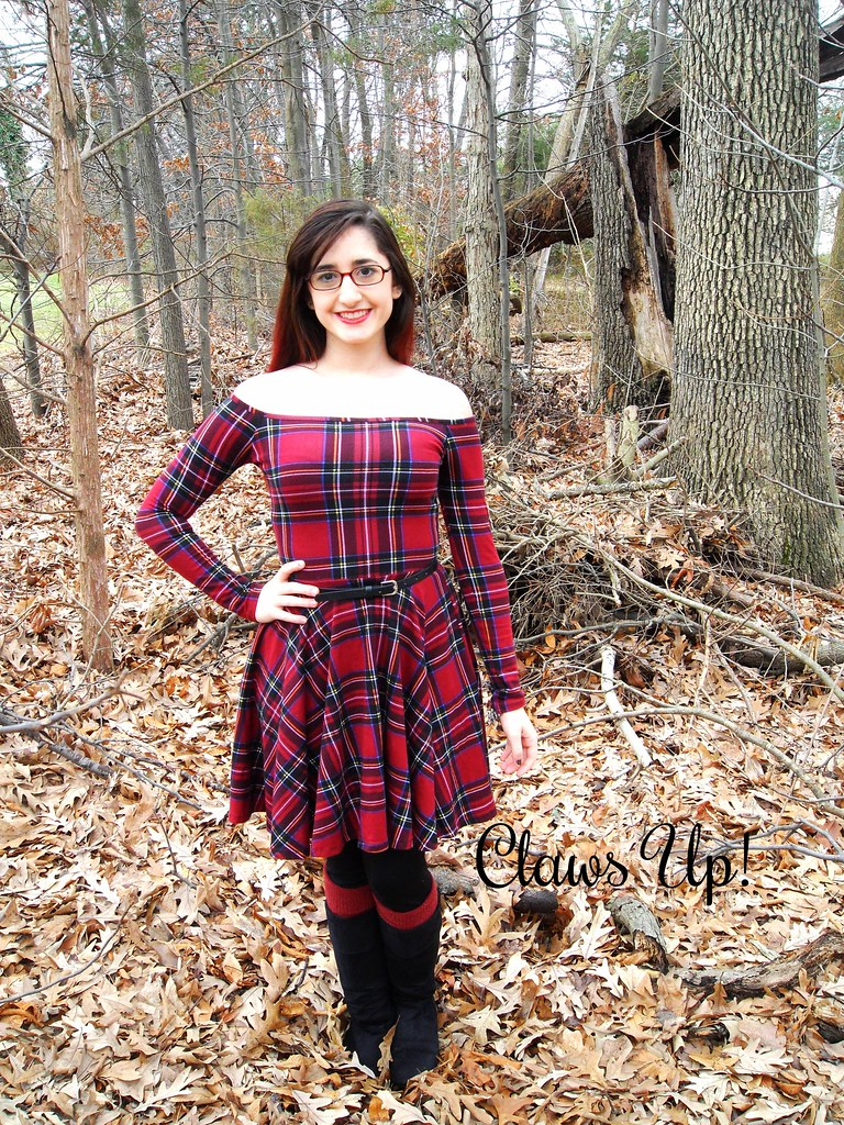 off the shoulder red plaid dress