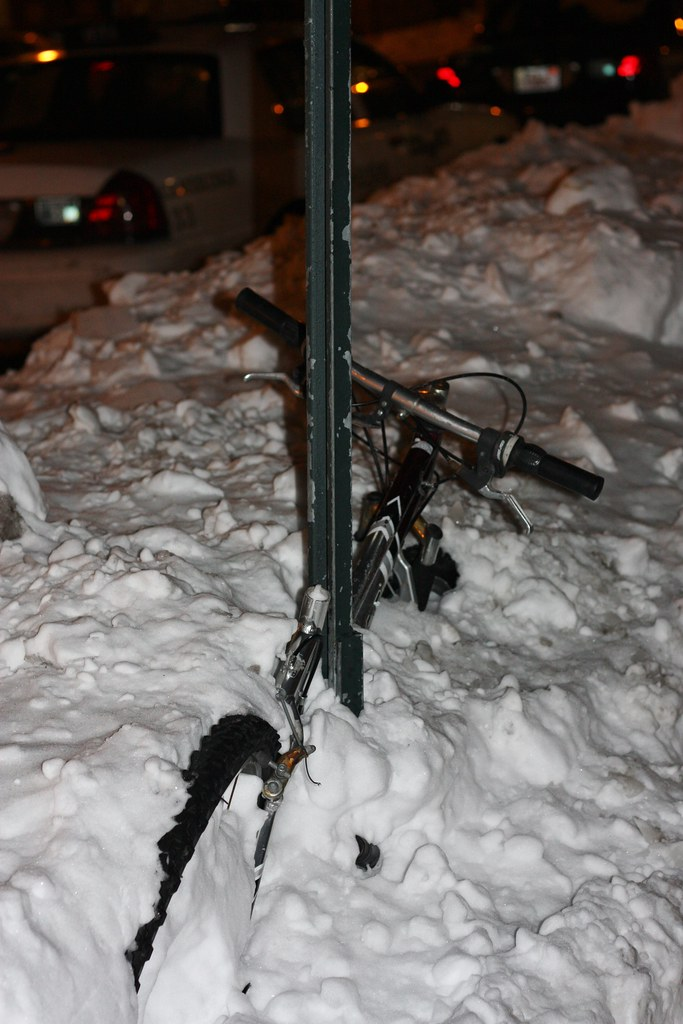 Boston Bike snowed in