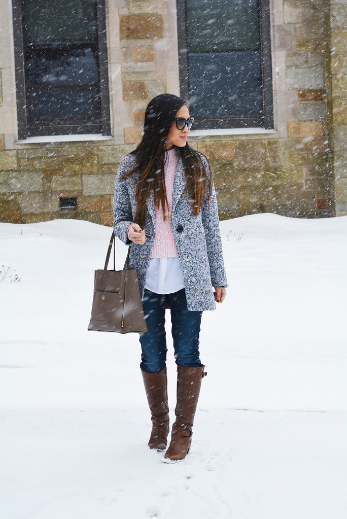gray tweed coat, pink sweater, brown riding boots, winter fashion outfit