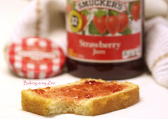 homemade sliced white bread with Strawberry Jam