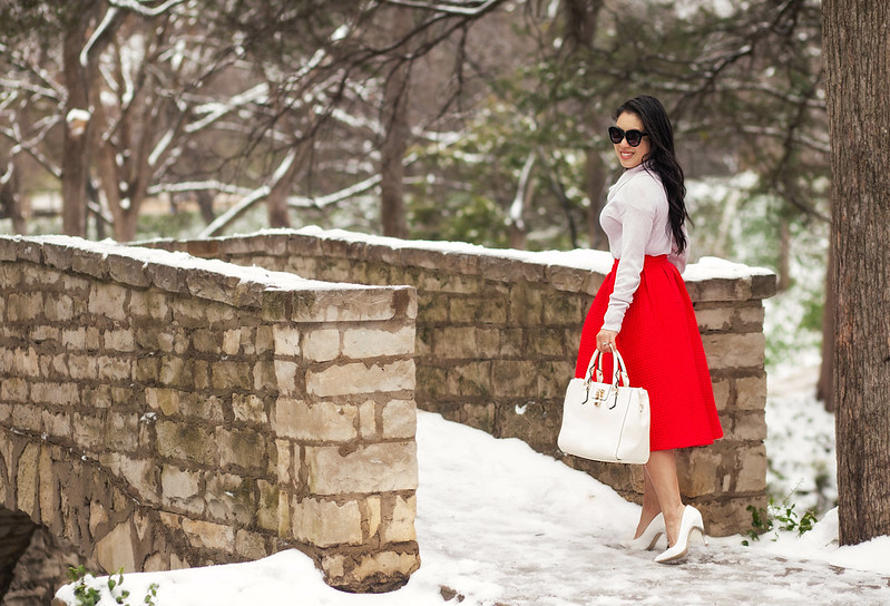cute & little blog | petite fashion | pink cowl sweater, sheinside red paid midi, white pumps, white bag | winter outfit