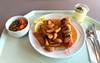 Salmon shashlik with pineapple, zucchini & bell pepper in lobster sauce / Schaschlikspieß vom Lachs mit Ananas, Zucchini & Paprika in Hummersauce