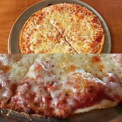 The thin crust cheese pizza. Absolutely fabulous.  Would work as a 12