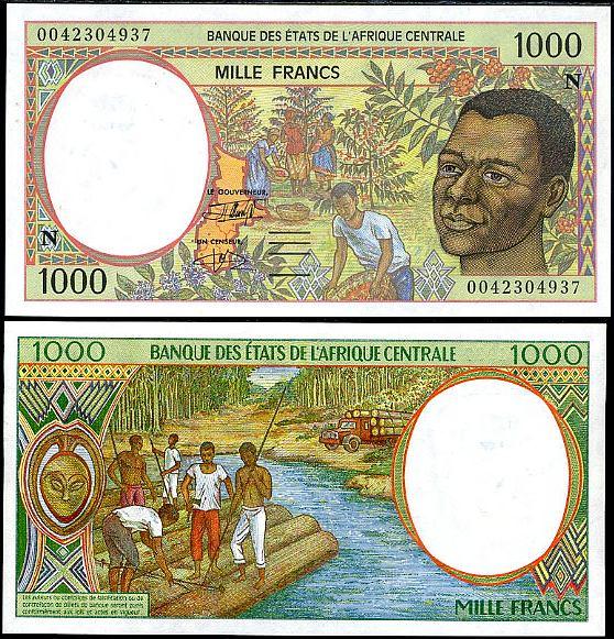 1000 Frankov Rovníková Guinea (Central African States)1993-2000, Pick 502n