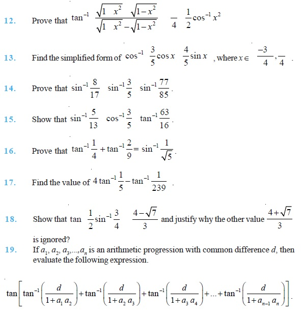 Class 12 Important Questions for Maths – Inverse Trigonometric