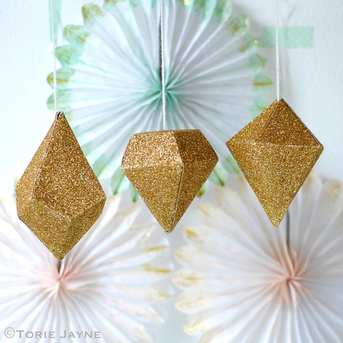 Gold glittered paper diamonds