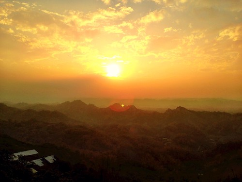 sunset mountains shine