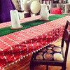 Starting to set the table - I love how the table cloth and AstroTurf table runner turned out - exactly how I pictured them in my head.
