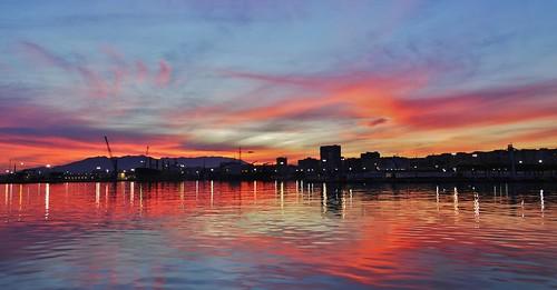 sunset sea sky españa reflection colors weather clouds sunrise atardecer mar andalucía spain rojo colores cielo nubes naranja málaga reflejos meteo