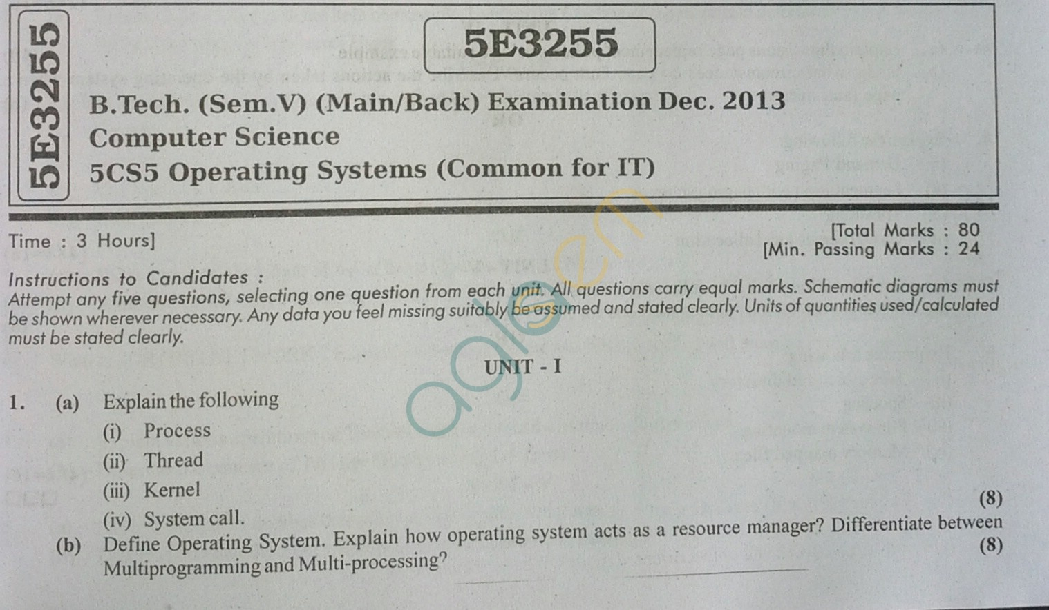 RTU: Question Papers 2013 - 5 Semester - CS - 5E3255