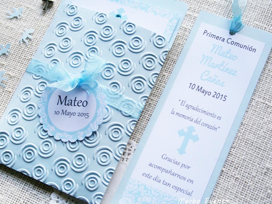 Conjunto invitaciones y punto de libro comunión niño Modelo nubes Merbo Events