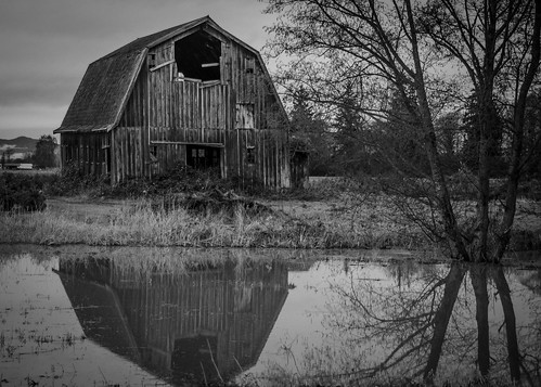 17. A Building in Black and White (Barn with Flooded Fields)