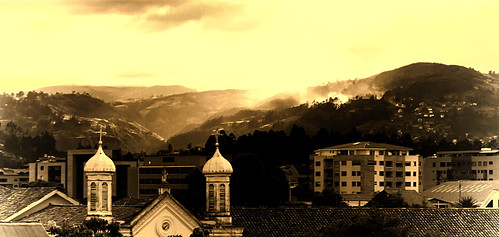 sunset church monochrome ecuador hills cuenca