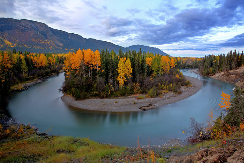 Tanzilla River near Dease Lake off Stewart Cassiar Highway 37 in Northern British Columbia, Canada.
