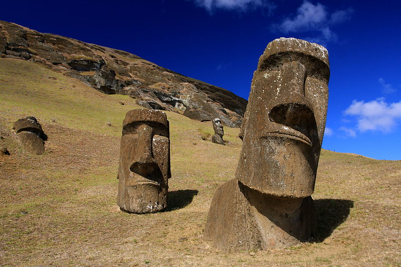 Moai at Rano Raraku in Easter Island